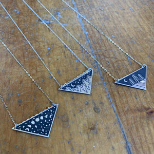 The Bearded Jeweler - Moon Phases Triangle Necklace