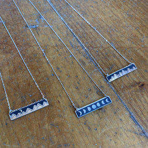 The Bearded Jeweler - Moonlit Mountains Horizontal Bar Necklace