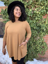 Load image into Gallery viewer, Zenana Basics 3/4 Sleeve Tunic With Pockets - Camel