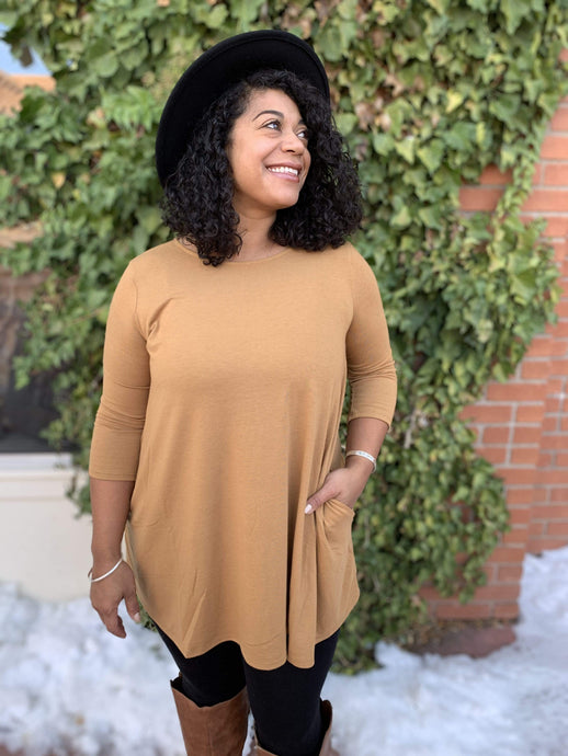 Zenana Basics 3/4 Sleeve Tunic With Pockets - Camel