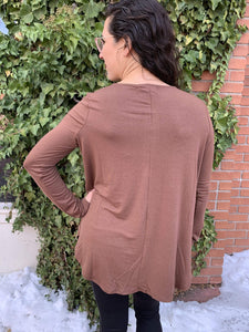 Zenana Basics 5 Button Long Sleeve Top - Brown