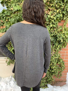 Zenana Basics 5 Button Long Sleeve Top - Charcoal
