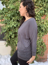 Load image into Gallery viewer, Zenana Basics Side Cinched 3/4 Sleeve Dolman Top - Charcoal