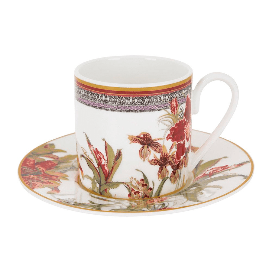 Roberto Cavalli Tazas FLOWERS 122 COFFEE CUP AND SAUCER SET
