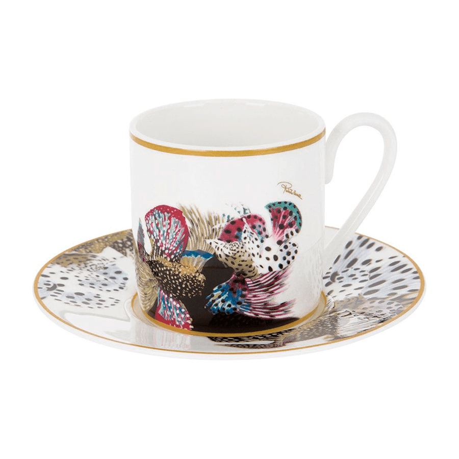 Roberto Cavalli Tazas FLOWERS 124 COFFEE CUP AND SAUCER SET