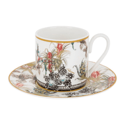 Roberto Cavalli Tazas FLOWERS 124 COFFEE CUP AND SAUCER SET x 2
