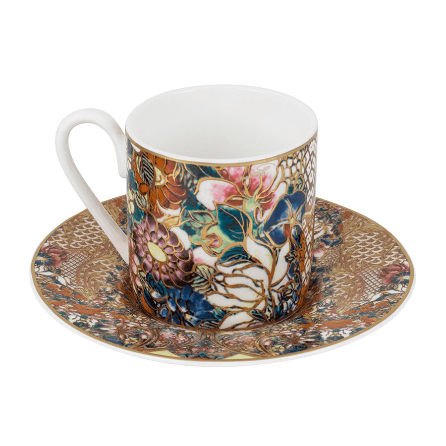 Roberto Cavalli Tazas GOLDEN FLOWERS COFFEE CUP AND SAUCER SET