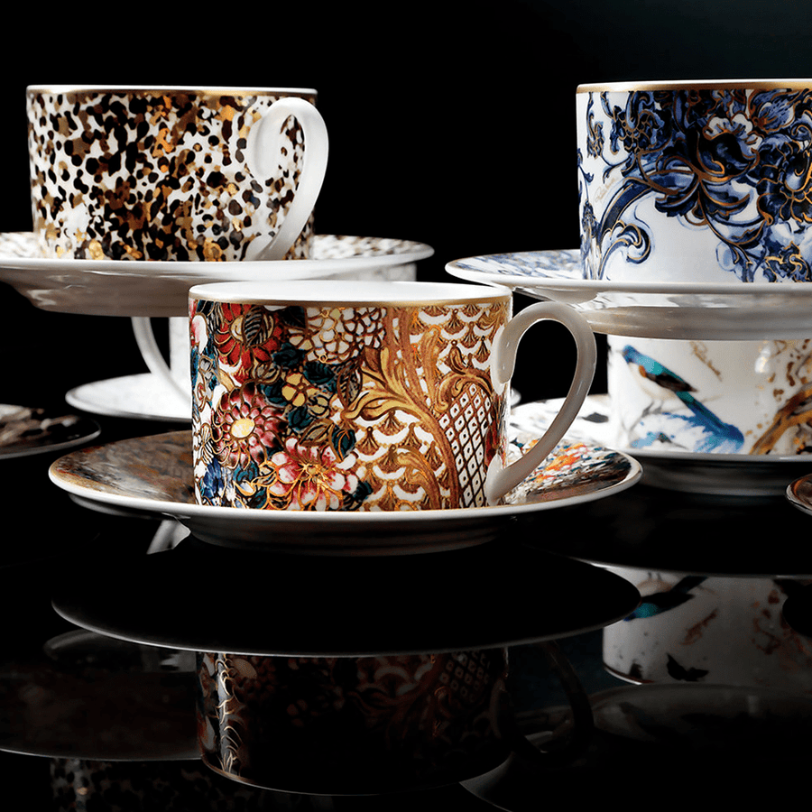Roberto Cavalli Tazas GOLDEN FLOWERS TEA CUP AND SAUCER SET