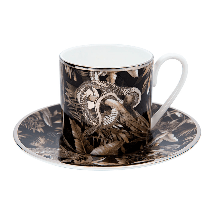 Roberto Cavalli Tazas TROPICAL JUNGLE COFFEE CUP AND SAUCER SET BLACK