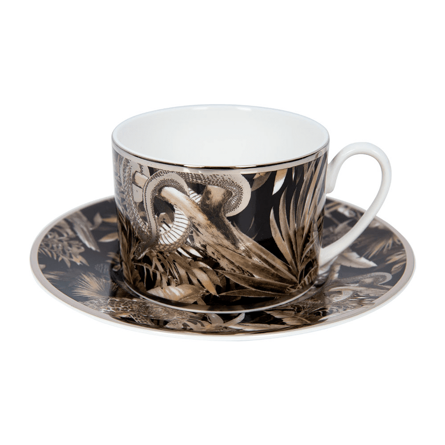 Roberto Cavalli Tazas TROPICAL JUNGLE TEA CUP AND SAUCER SET BLACK
