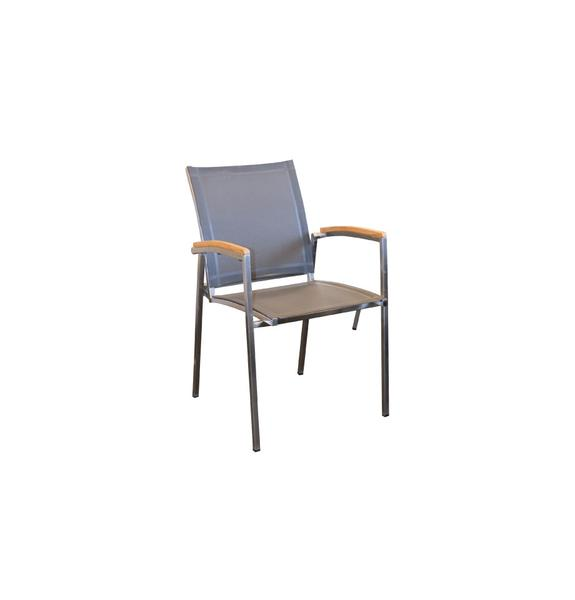 Pacific Outdoor Dining Chair - 304 Stainless Steel - Batyline Charcoal Quick Dry - Recycled Teak Arms