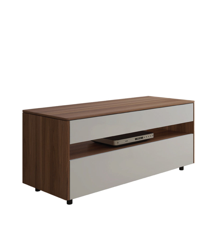 Newtown Entertainment Unit 1120 - HG White Fronts + Walnut Frame - L.1120 D.460 H.492mm - iRL11.260.914
