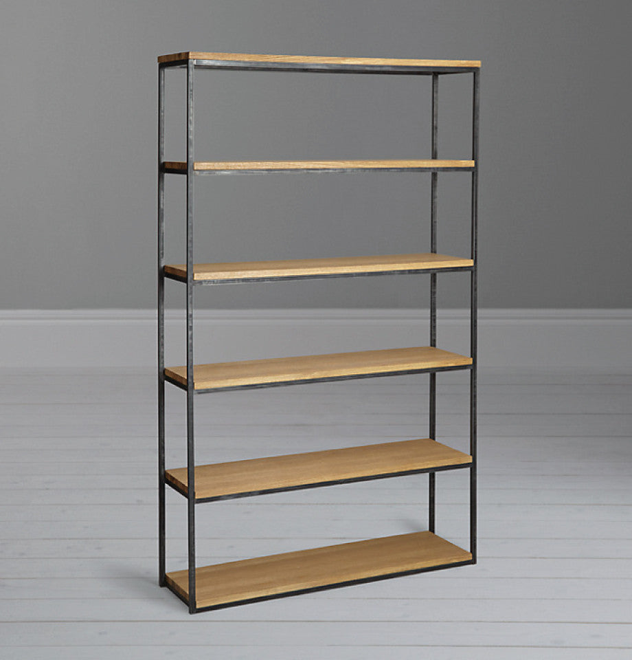 Calia Wide Bookcase - Oak & Iron