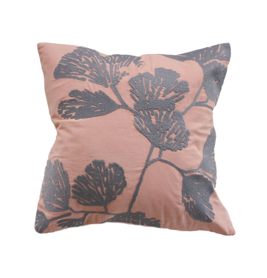 Cushion with Feather Inner - Ginkgo in Rose/Charcoal