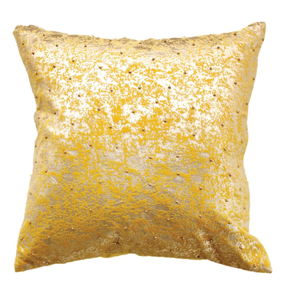Cushion w/ Feather Inner - Marigold - Mustard/Gold Foil
