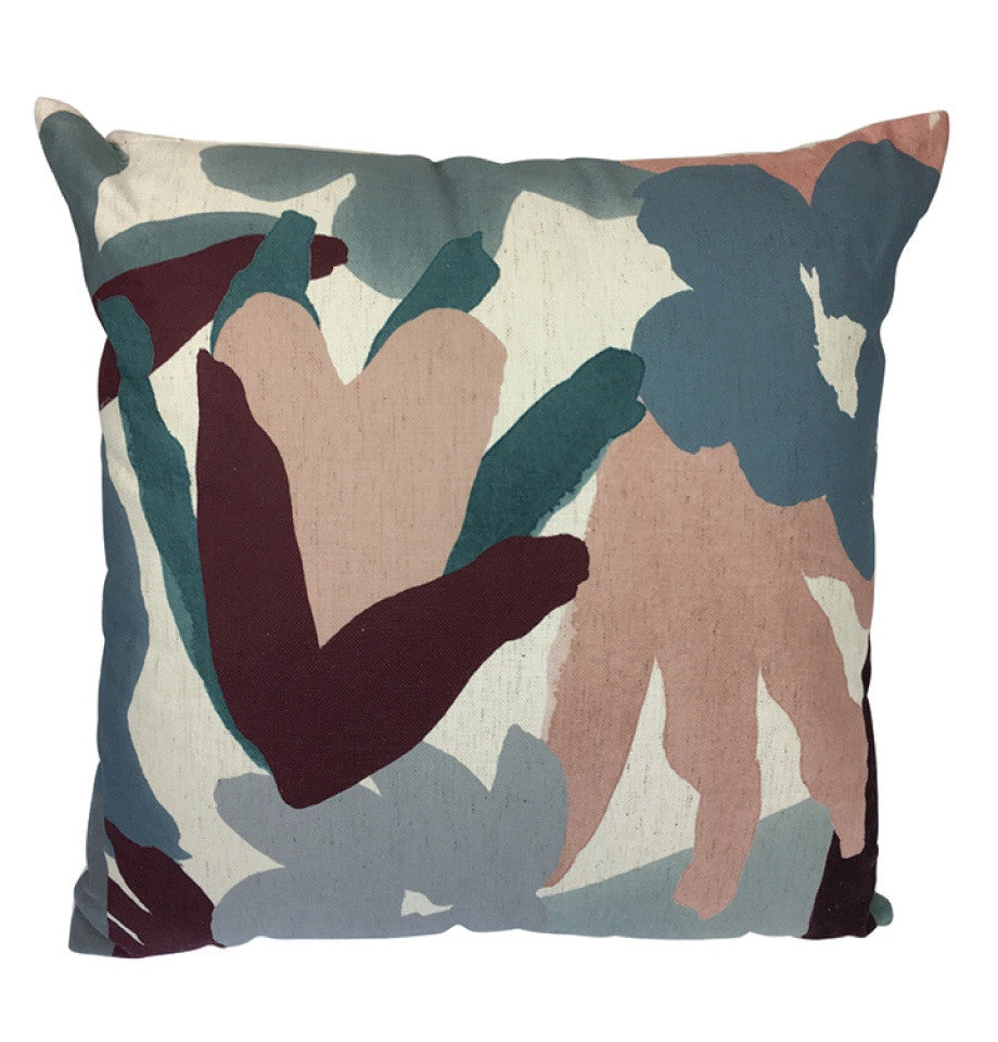 Cushion - Painted Abstract Floral - Plum/Blue