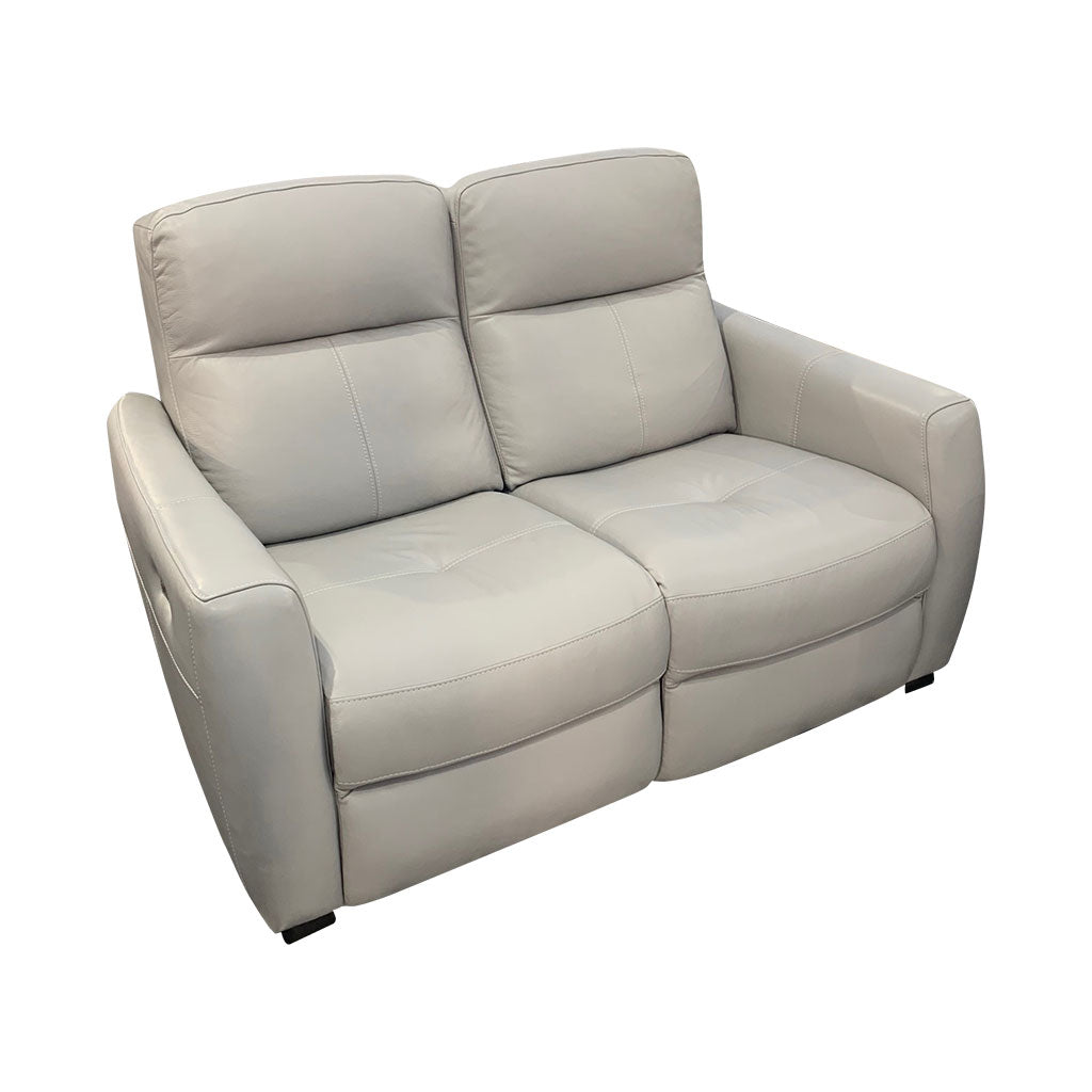 Genoa 2 seater electric recliner - light grey leather - side view