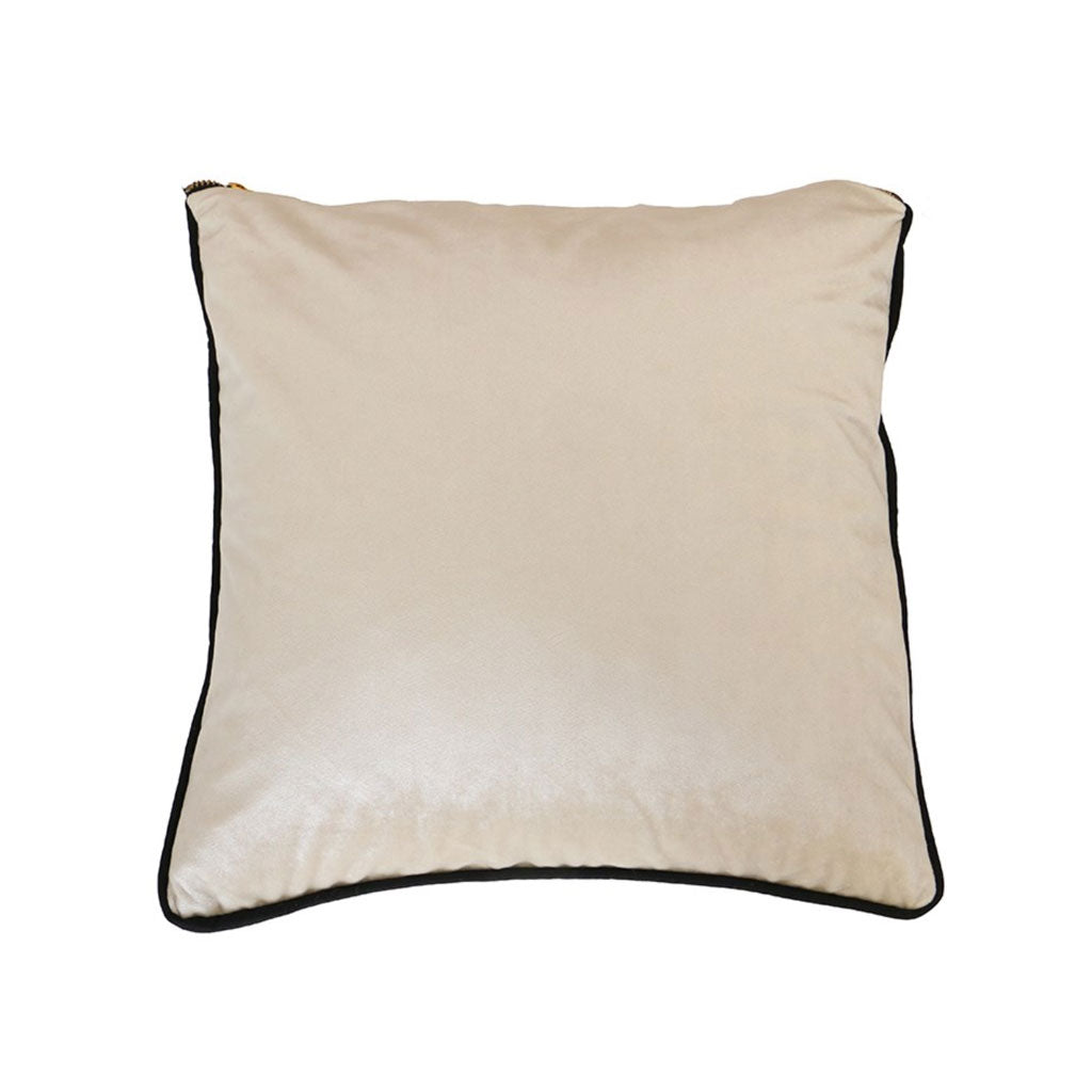 Velvet piped cushion in ivory