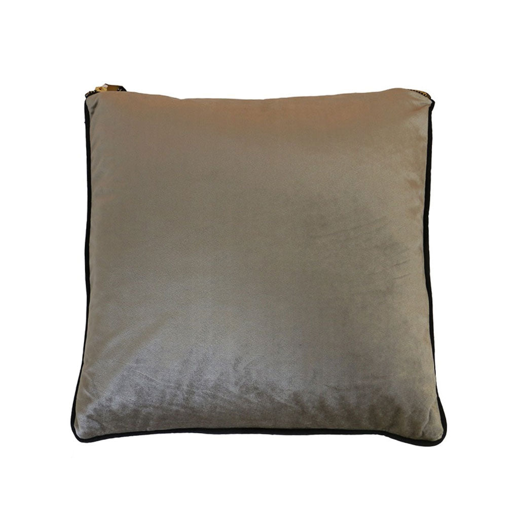 Velvet piped cushion in pale grey