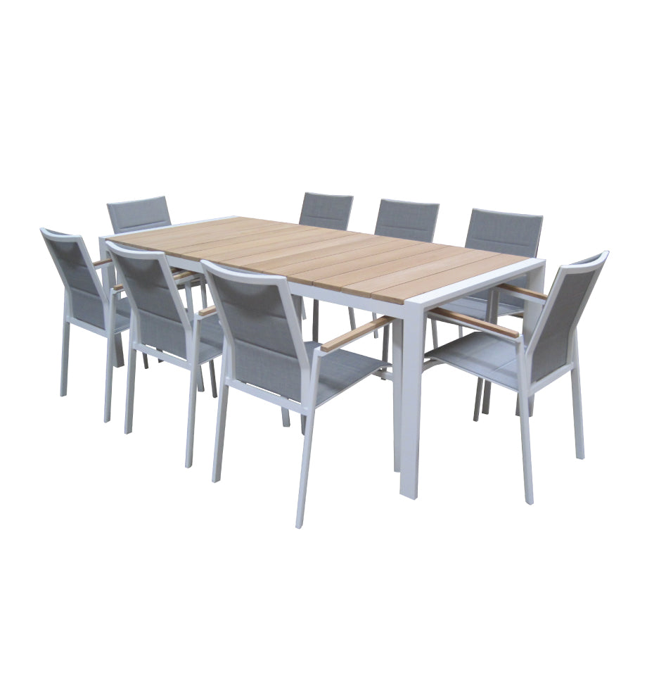 Copenhagen Outdoor Table 2200x1000 - White Powder Coated Aluminium with Teak Top - RTA