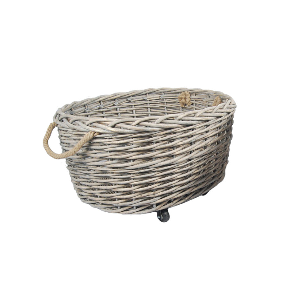 Willow Basket on Wheels - Oval - Large - Greywash