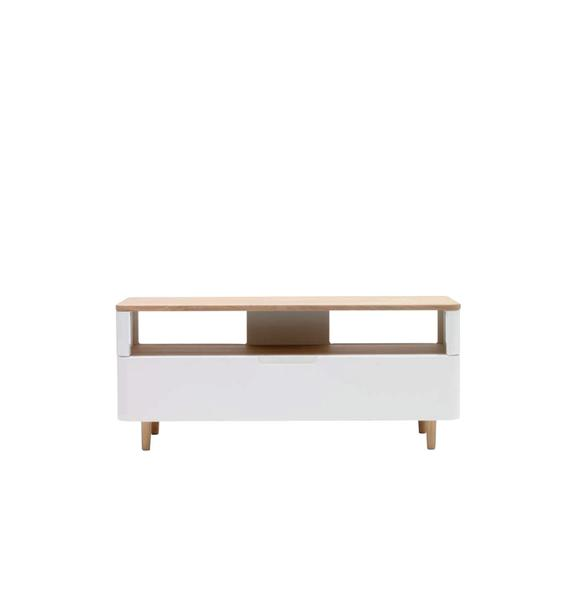 New Amalfi TV-Lowboard - 120cm - White Oak/Oak Veneer - Assembled