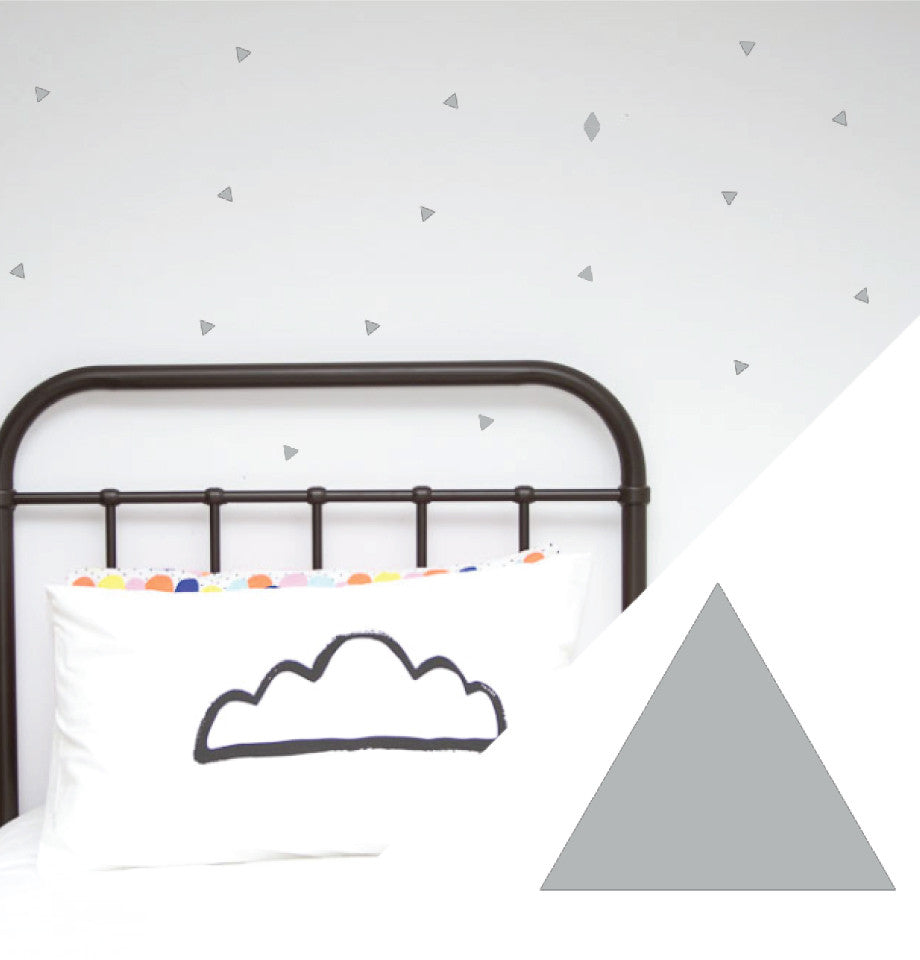 100 Percent Heart Wall Stickers - Sml Triangles Silver Pk 100