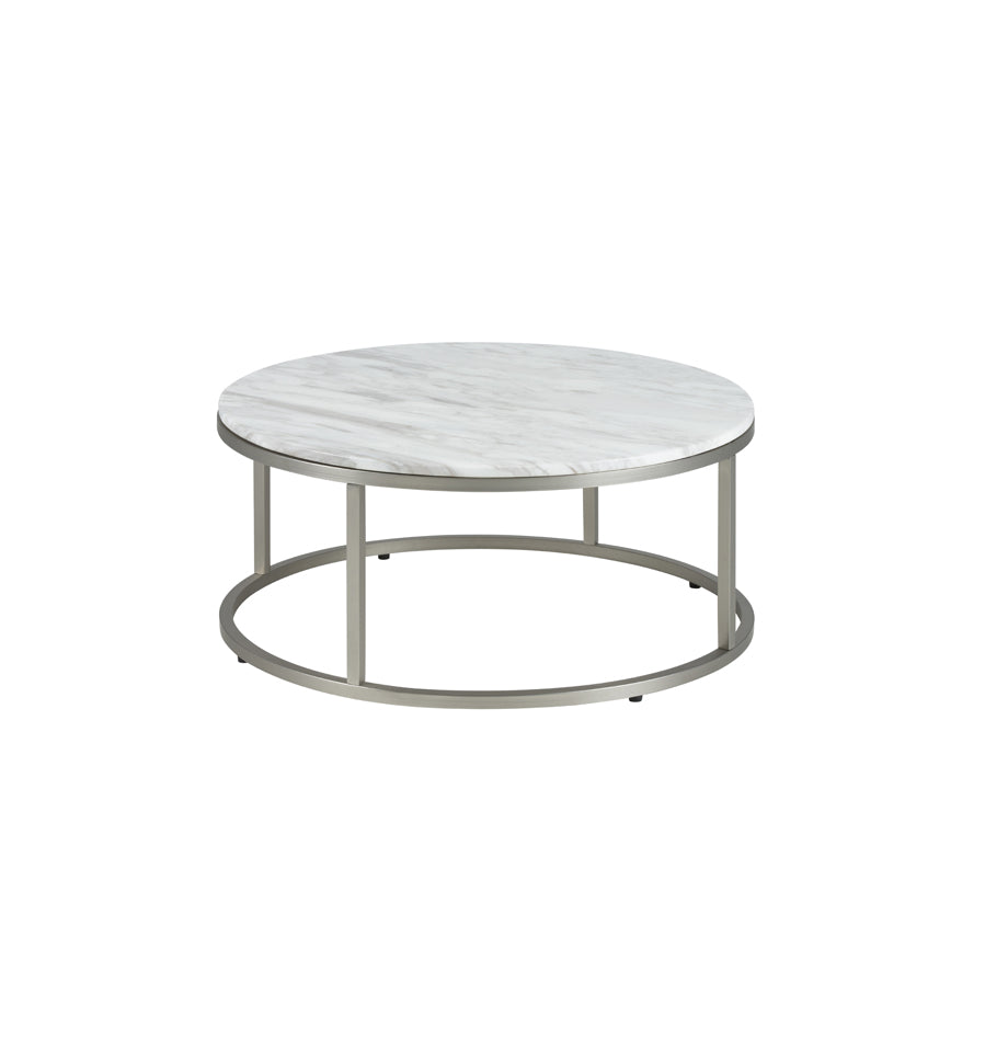 Bran Round Coffee Table - Volakas White Marble