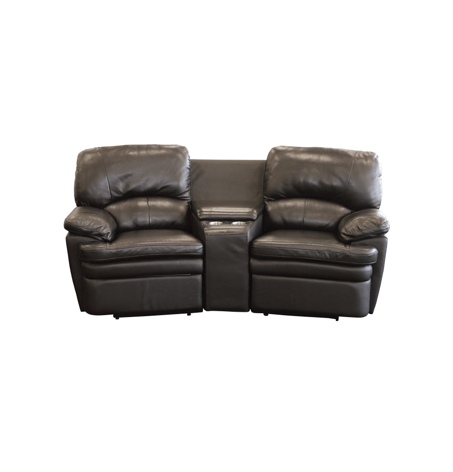 - This Cinema is a 3 piece - Recliner + Angled Bar + Recliner - Black Leather