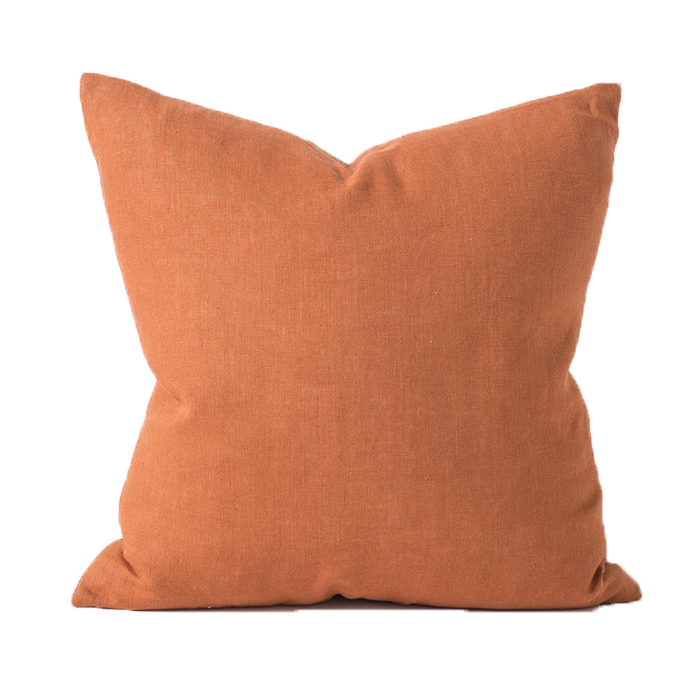 Citta Design - Hand Woven Linen Cushion With Feather Fill- Toffee