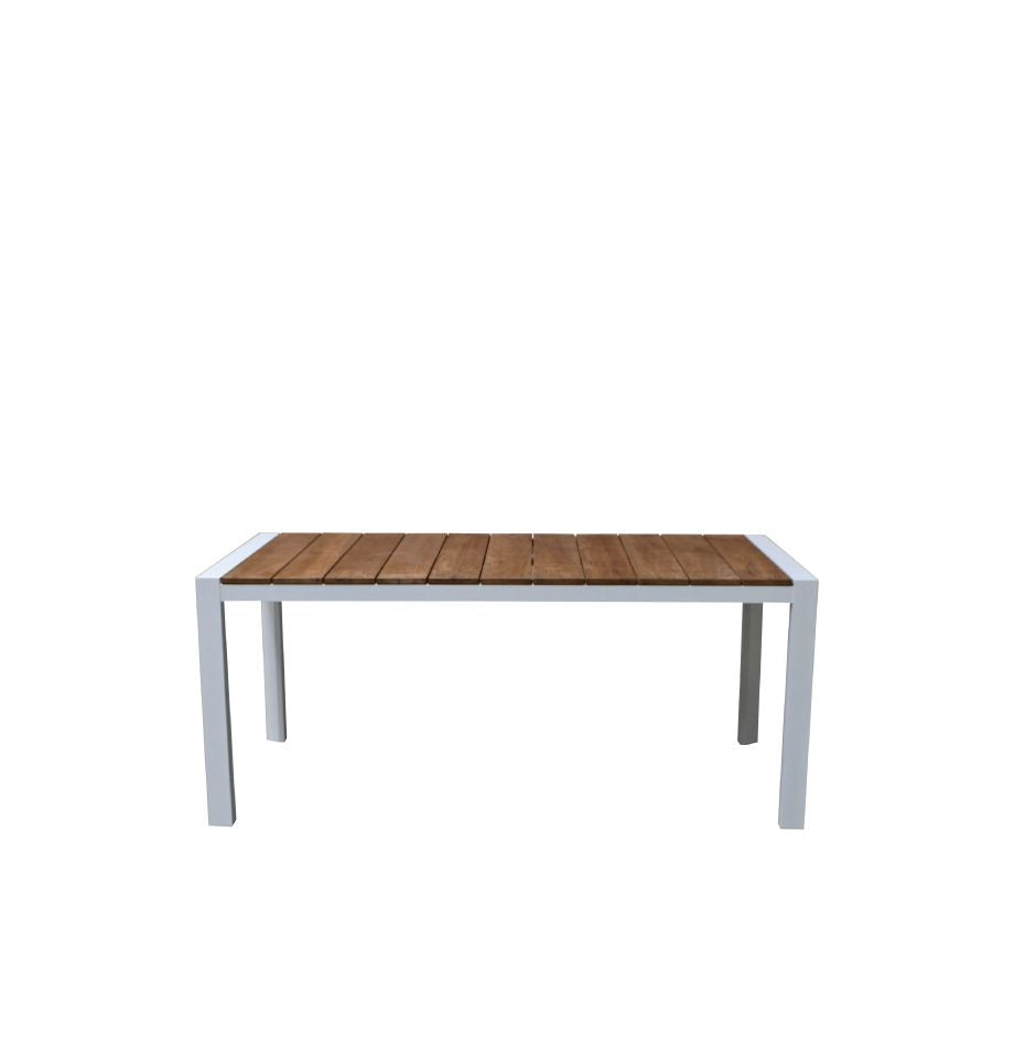 Copenhagen Outdoor Table 1800 - White Powder Coated Aluminium/Teak