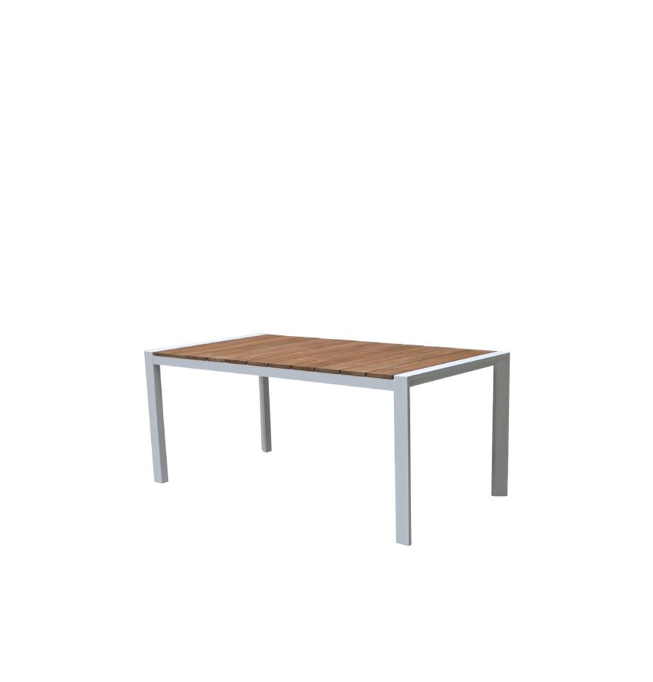Copenhagen Outdoor Dining Table 1800 - White Powder Coated Aluminium/Teak