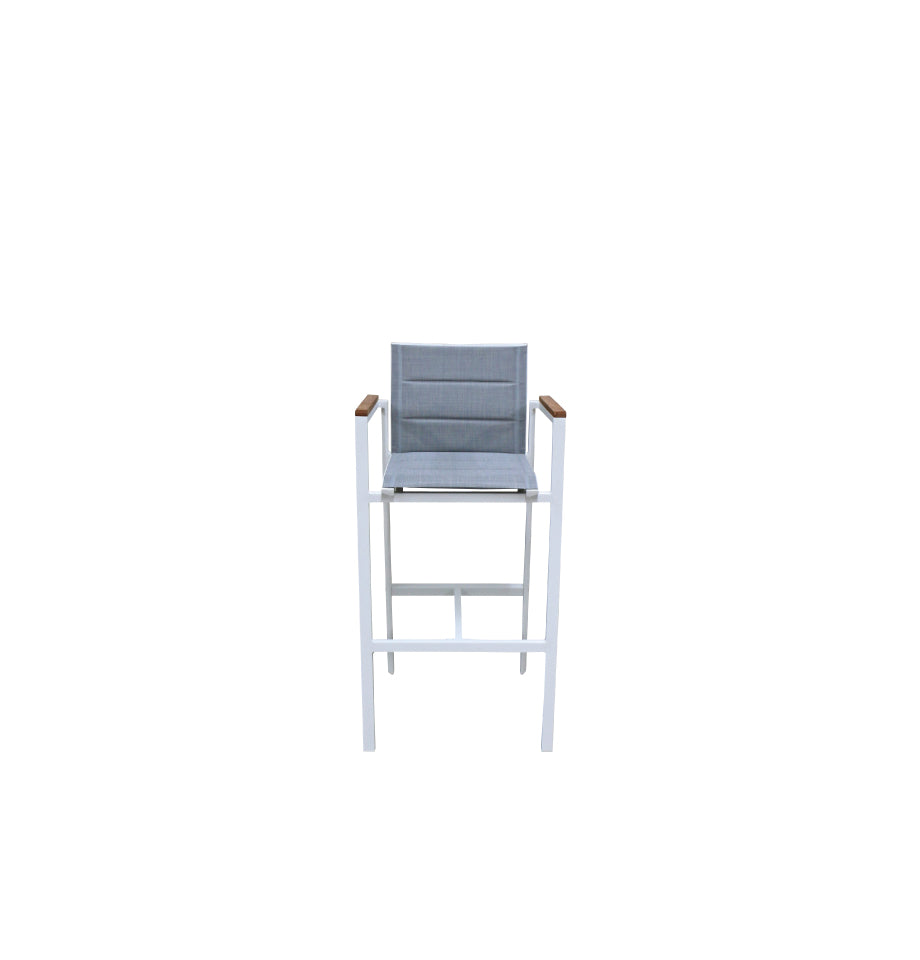 Copenhagen Outdoor Bar Chair - Powder Coated Aluminium White/Teak