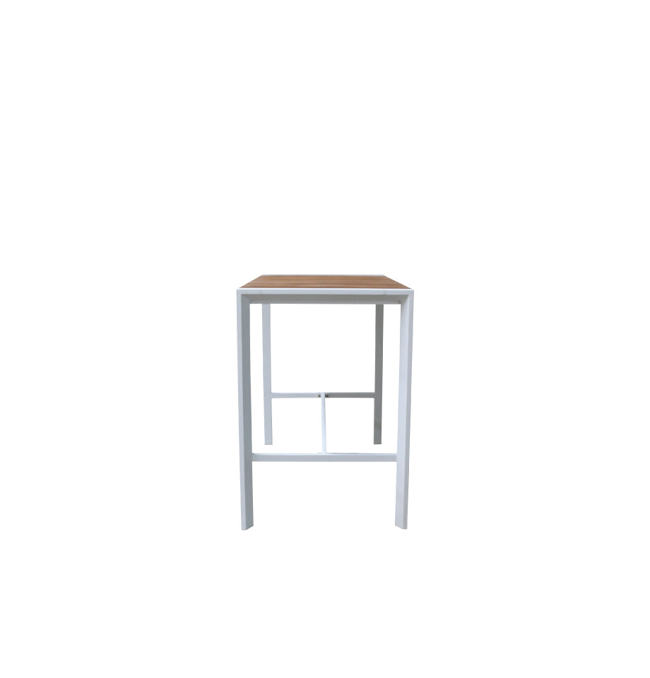 Copenhagen Outdoor Bar Table 1500 - White Powder Coated Aluminium/Teak