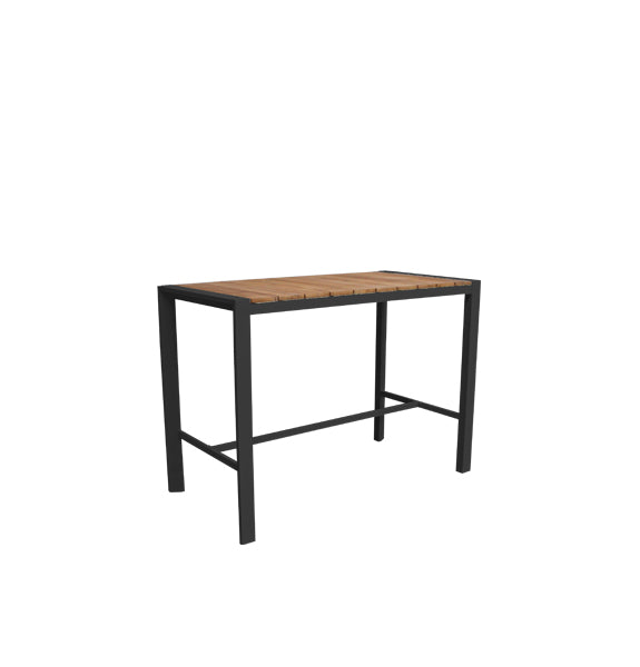Copenhagen Outdoor Bar Table 1500 - Charcoal Powdercoated Aluminium/Teak
