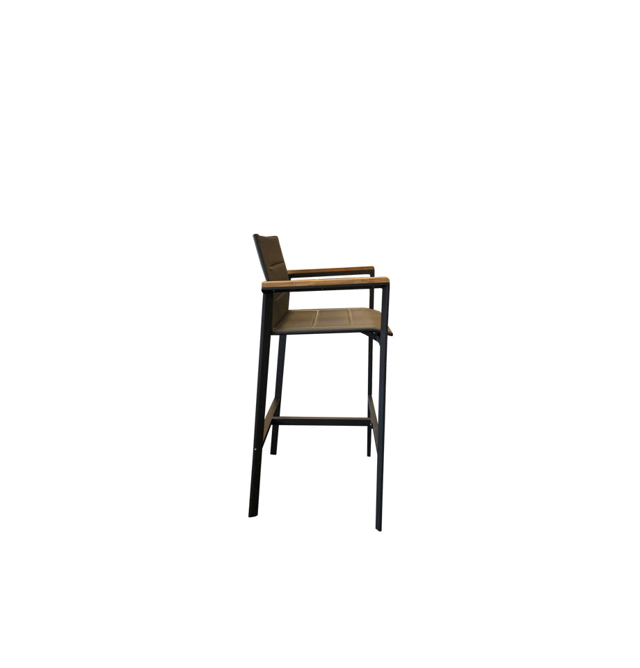 Copenhagen Outdoor Bar Chair - Powder Coated Aluminium Charcoal/Teak