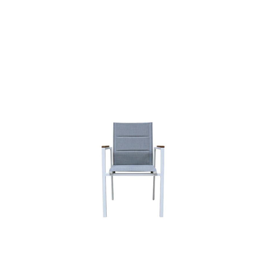 Copenhagen Outdoor Dining Chair - White Powder Coated Aluminium/Teak