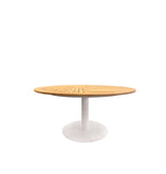 Copenhagen Round Outdoor Table 148cm - White Powder Coated Aluminium w Teak Top