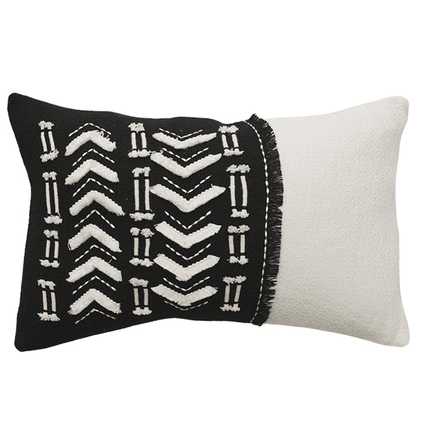 Cushion - Accent With Feather Inner - Black/Cream