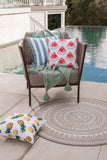 Outdoor Cushion - Branch Stripe - Dusky Blue