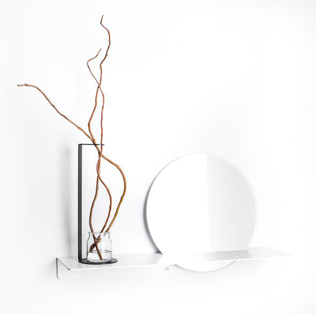 Fold Ledge Mirror - White