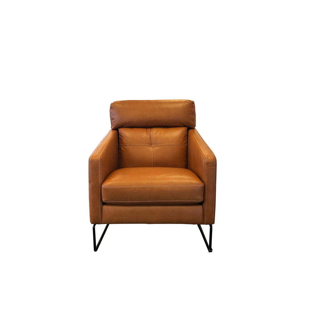 Frenzo Chair - Matisse Tan Aniline Leather - White Top Stitch