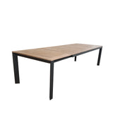 Grove Large Extension Outdoor Dining Table 220/280x100 - Charcoal Powdercoated Aluminum w. Teak Top