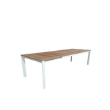 Grove Small Extension Outdoor Dining Table 160/220x100 - White Powdercoated Aluminum w. Teak Top
