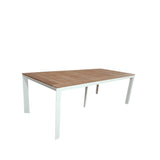 Grove Extra Large Twin Extension Outdoor Dining Table 220/280/340x100 - White Powdercoated Aluminum w. Teak Top