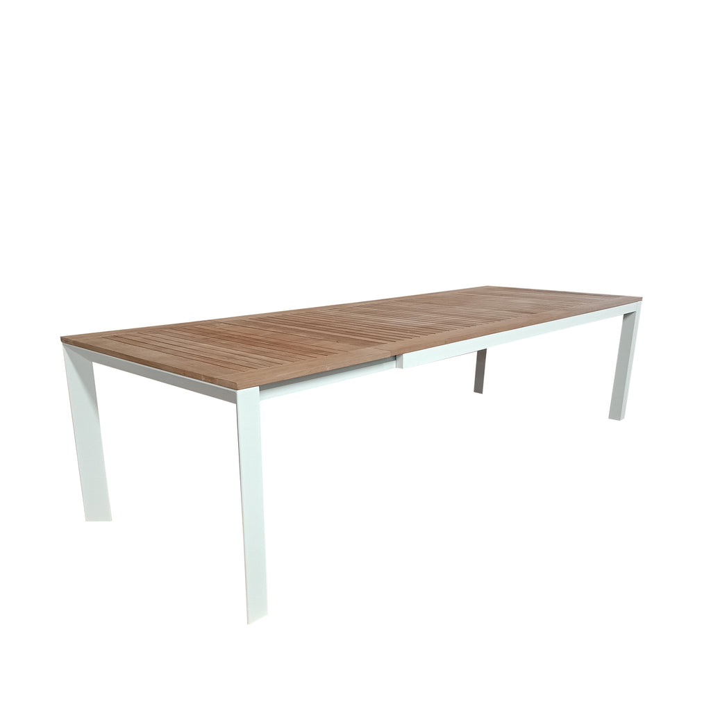 Grove Large Extension Outdoor Dining Table 220/280x100 - White Powdercoated Aluminum w. Teak Top
