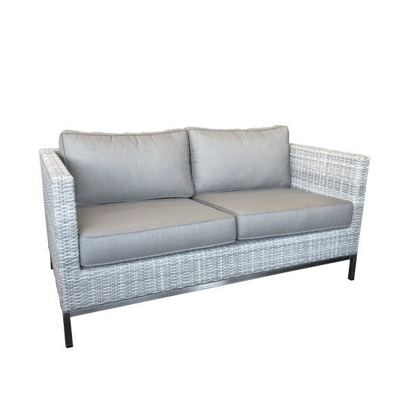 Hahei 2str Outdoor Sofa - Mid Grey Rehau German Wicker - 316S/S - Sunbrella Natte Nature Grey