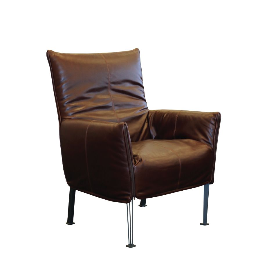 Hugo Steel Chair - NZ Made - NZ Tasman Monarch Auburn Leather