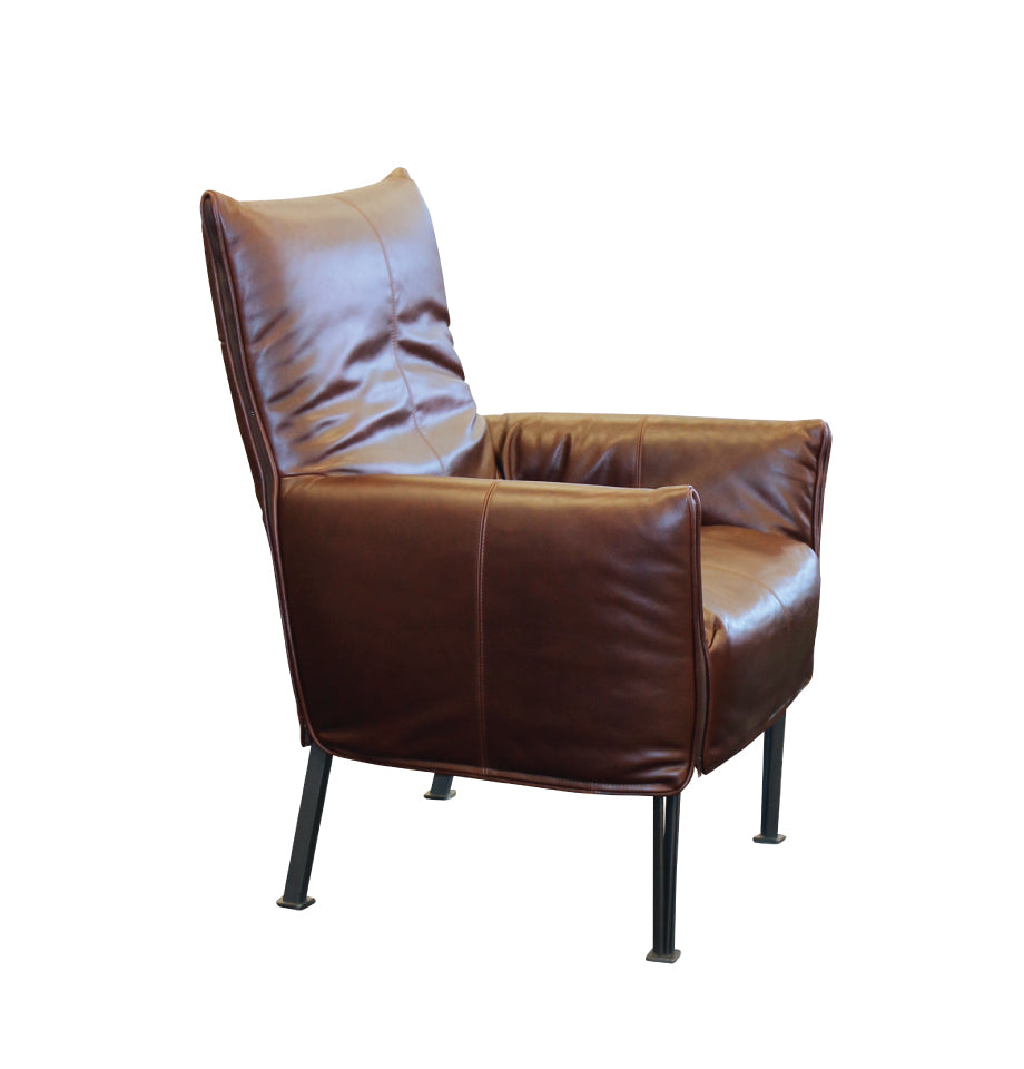 Hugo Steel Chair - NZ Made - NZ Tasman Monarch Auburn Natural Leather