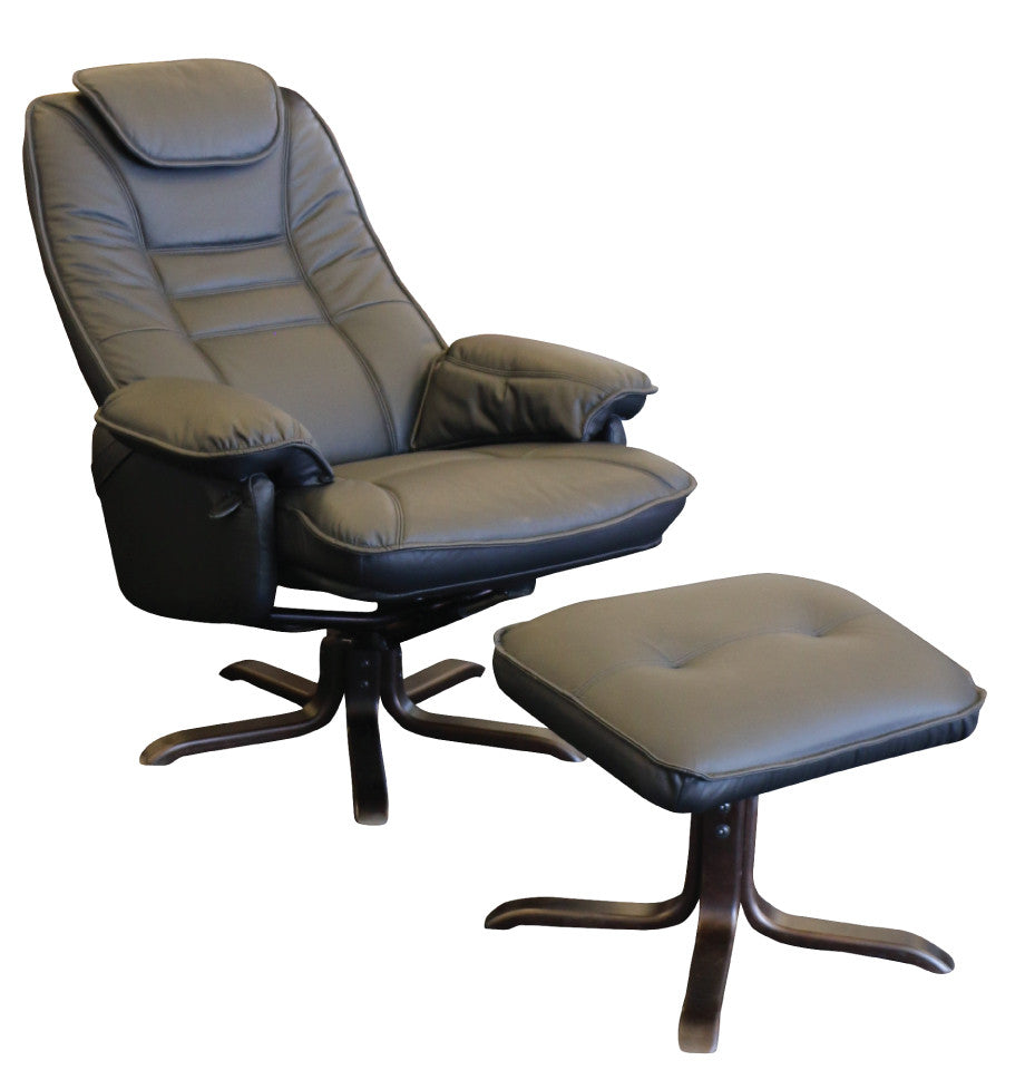 Oslo Recliner Chair + Footstool - Black Leather - Wenge Timber